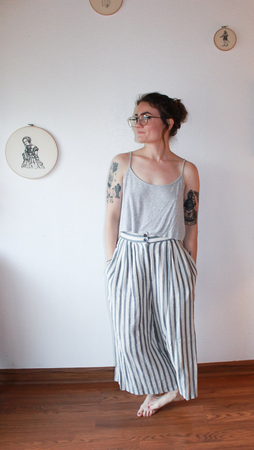 Striped Cotton Pants 0